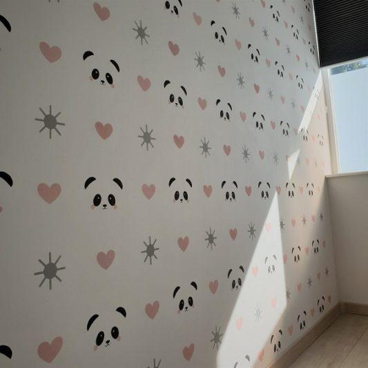 Sjabloonwerk kinderkamer panda