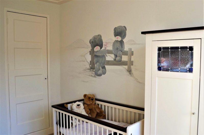 Muurschildering kinderkamer beren